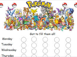 Pokemon Behaviour Chart Pokemon Reward Chart