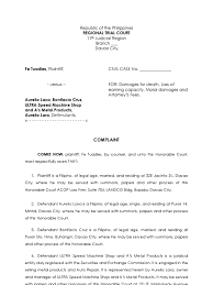 Sample Complaint For Ejectment Doc Lease Lawsuit