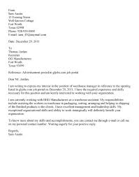 Warehouse Supervisor Cover Letter Example Cover Letter Samples For Warehouse Worker Guatemalago