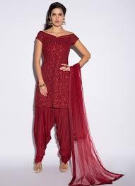 Off Shoulder Designer Suits Red Off Shoulder Punjabi Suit Features A Gorgeous Georgette