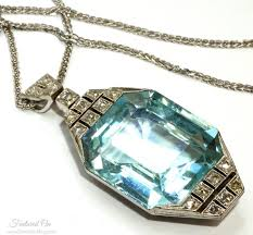 vintage 1920s aquamarine pendant