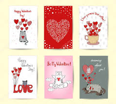 Valentines Card Design Templates Cute Cats In Love Stock