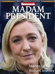 Image result for Le Pen remove the Eu flag