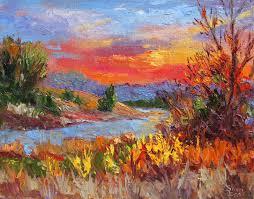 fiery sun light contemporary landscape painting by sheri jones