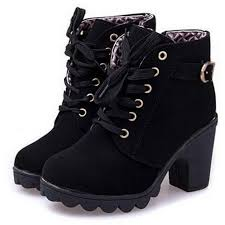 <b>Women Flock High Heel</b> Shoes Thick Heel Motorcycle Boots-buy at ...