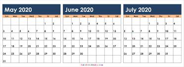 June July 2020 Calendar Download May June July 2020 Calendar Colorful Design 2020