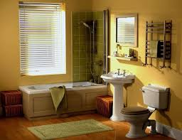 traditional bathroom designs 2013. Traditional Bathroom In Yellow Wall Color And Wooden Floor Designs 2013