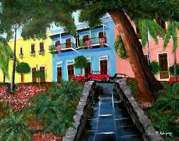 puerto rico street hill in old san juan painting