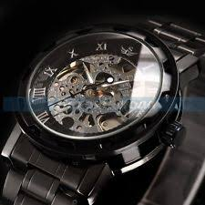 men s mechanical hand winding wristwatches skeleton uk stock men s transparent steampunk skeleton mechanical stainless steel watch