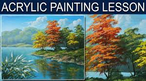 acrylic landscape painting tutorial autumn in the river in step by step by jm lisondra