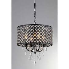 black indoor drum shade crystal chandelier with shade