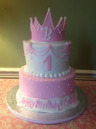 Baby Girls First Birthday Cake Princess Cake And Crown Pink The