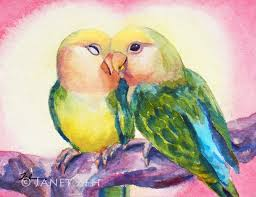 watercolor painting of two lovebirds on a branch