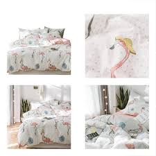 details about girls duvet cover sets cotton flamingo print queen for kids teens 100 percent