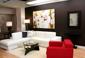 ... Modern Condog Room Design With Accent Wall Color And Art White  Sectional Sofa Red Arm Chair Accent Fireplace Black Walldeas Living ...