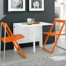 spazio white folding console table open matched with skip chairs