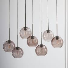 sculptural glass globe 7 light chandelier small smoke west elm
