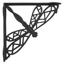 dragonfly cast iron shelf bracket black powder coat