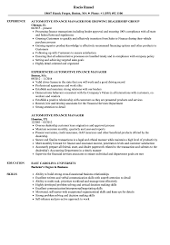 100 Automotive Fi Manager Resume Sample Auto Finance Manager