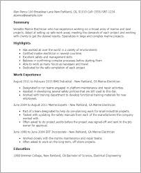 Resume Templates: Marine Electrician