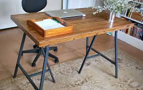 How To Make A Desk With Ikea Trestle Legs And Old Wood Flooring Throughout  Wood Top Desk Decorate ...