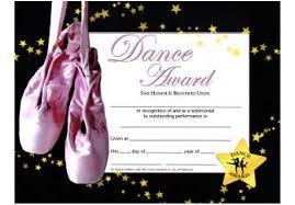 Dance Award Certificate Music In Motion Dance Award Certificate