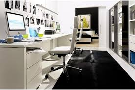 modern home office decorating. Ultra Modern White Home Office With Apple Products Decorating