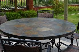 63 round slate outdoor patio dining table stone oceane round outdoor dining table set