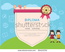 kids diploma preschool certificate elementary school stock vector  kids diploma preschool certificate elementary school design template background vector illustrator