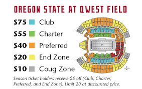 Wsu Oregon State At Qwest Field Ticket Links Seating Chart