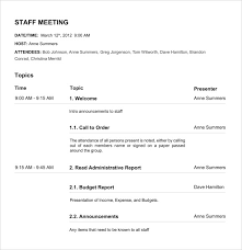 Staff Meeting Agenda Template Nonprofit Board Meeting Agenda