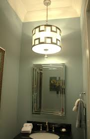 powder room lighting. There Is No Light Fixture Mounted Above The Mirror. Instead They Used This Beautifully Detailed Drum Pendant, Making Powder Room More Of A \u201c Room.\u201d Lighting I