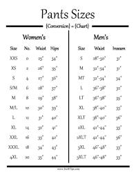 Size Comparison Chart Clothing Pants Size Conversion Chart