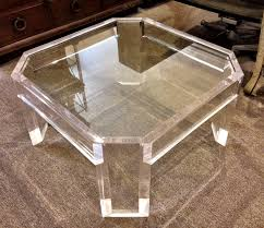 furniture a clear brass glass and lucite coffee tables table karl springer as wells furniture