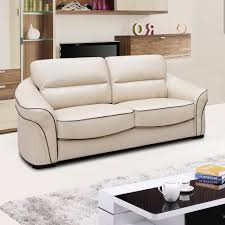Stylish Sofas Longdon Pale Ivory Cream Leather Sofa Collection With Black Piping