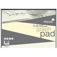 Silvine Designer Graph Pad 85gsm 1mm 5mm 10mm Grid 50 Sheets
