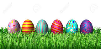 Decorated Easter Egg Hunt With Painted Easter Eggs In A Row Sitting