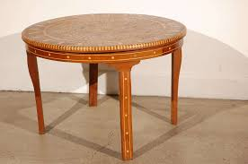 fruitwood moroccan round coffee table inlaid marquetry for