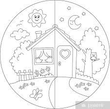 Casa Di Campagna Giorno E Notte Da Colorare Per Bambini Wall Mural