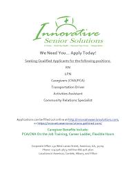 job opportunity innovative senior solutions albany area job oportunity flyer