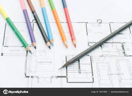 architectural drawings of modern houses. Contemporary Modern Architects Workplace  Architectural Blueprints Drawings Of  The Modern House With Color Pencils Decoration Concept Designer Tools For Architectural Drawings Of Modern Houses W