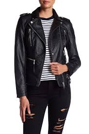 image of blanc noir faux leather moto jacket