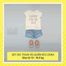 Thời trang Quần áo trẻ em bé gái trẻ con Set bộ áo thun tay ngắn Place quần  đùi jean Zara, 2 3T 13-15kg tím café xanh đỏ