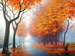 Road In Autumn Backgrounds For Powerpoint Nature Ppt Templates