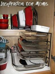 use a pan organizer to keep baking dishes