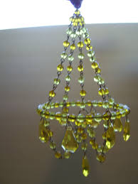 Charming Simplicity Dollhouse Amber Beaded Chandelier