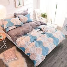 thick fleece fabric modern style leaf print bedding sets soft warm bedclothes queen king size duvet cover bed sheet set bedding sets comforters cotton duvet