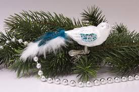 Kleiner Vogel Eisweiß Türkis Mit Türkis Farbener Feder Christbaumschmuck Aus Lauscha
