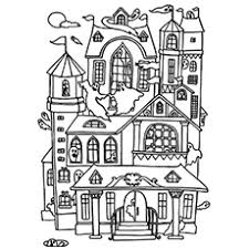 Small Picture Coloring Page Haunted House Pages For Kids To Print Free