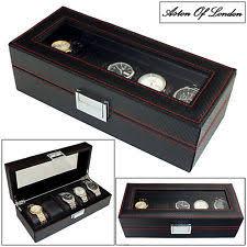 mens watch storage box aston of london® mens carbon fibre effect pu leather 5 watch box storage case